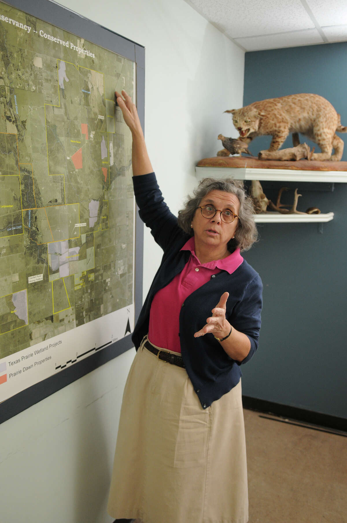 Mary Anne Piacentini, Executive Director of the Katy Prairie Conservancy, discusses the proposal of an electric line that may cross the prairie in Waller.