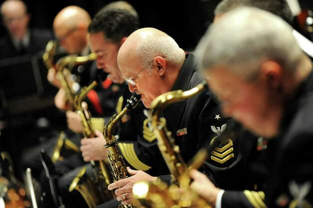 The saxophone section adds its sound during the U.S. Navy Commodores Jazz Ensemble performance on Thursday, Nov. 6, 2014, at the Palace Theatre in Albany, N.Y. (Cindy Schultz / Times Union) Photo: Cindy Schultz / 00029391A