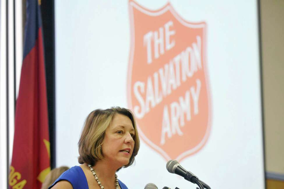 Former Saratoga Springs Mayor Joanne Yepsen addresses those gathered for a press conference to announce the second season of the Code Blue program in the city on Thursday, Nov. 6, 2014, in Saratoga Springs, N.Y. (Paul Buckowski / Times Union)