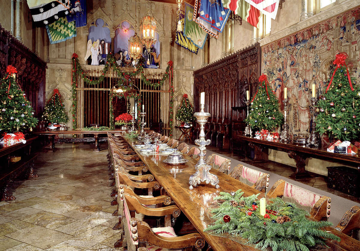 The refectory of Hearst Castle, which becomes a Christmas spectacle beginning Thanksgiving weekend. The castle is decorated as it might have been during the 1920s and '30s. The castle displays about a dozen Christmas trees, from 18 footers down to multiple smaller trees in some rooms.