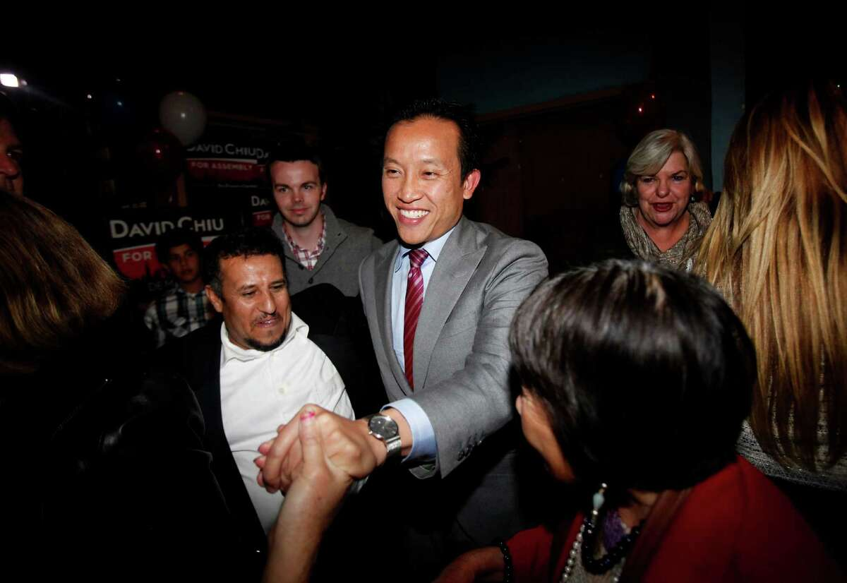 David Chiu greets supporters at his election night party in San Francisco on Nov. 4, 2014.