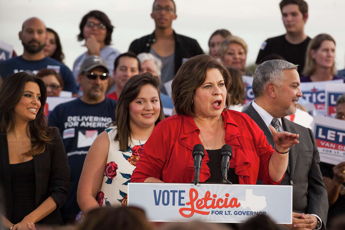 """Senator Leticia Van de Putte, running for Lt. Governor, speaks Wednesday October 22, 2014 at a rally in San Pedro Park launching a statewide """"Vote Leticia Tour."""""""