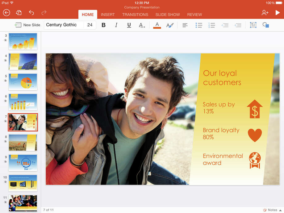 This screen shot provided by Microsoft shows the iPad version of the company's Microsoft PowerPoint app. Microsoft on Thursday, Nov. 6, 2014 released new, beefed-up versions of its popular Office software apps for iPhones and iPads, as part of the company's push to stay relevant for workers in an increasingly mobile world. (AP Photo/Microsoft) Photo: Uncredited, HONS / Microsoft