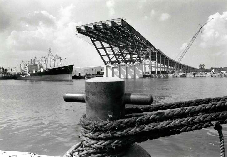 From the Sept. 1971 Houston Post: Jutting out high above the Houston Ship Channel is the completed initial phase of the first bridge that will span the waterway. When it is completed in 1973, the bridge will carry 10 lanes of traffic over the channel on Interstate 10's east loop. Post photographer Fred Bunch took this shot from the opposite bank where work will begin shortly on the second phase of the $9.5 million project.