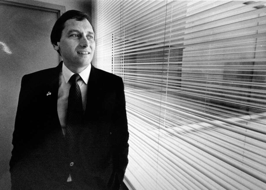 Stamford Mayor Thom Serrani looks out his office window on the 10th floor of Government Center on Nov. 8, 1989, a day after winning a landslide victory over Republcan challenger Leonard Vignola to capture a fourth two-year term in office. Photo: File Photo / Stamford Advocate File Photo