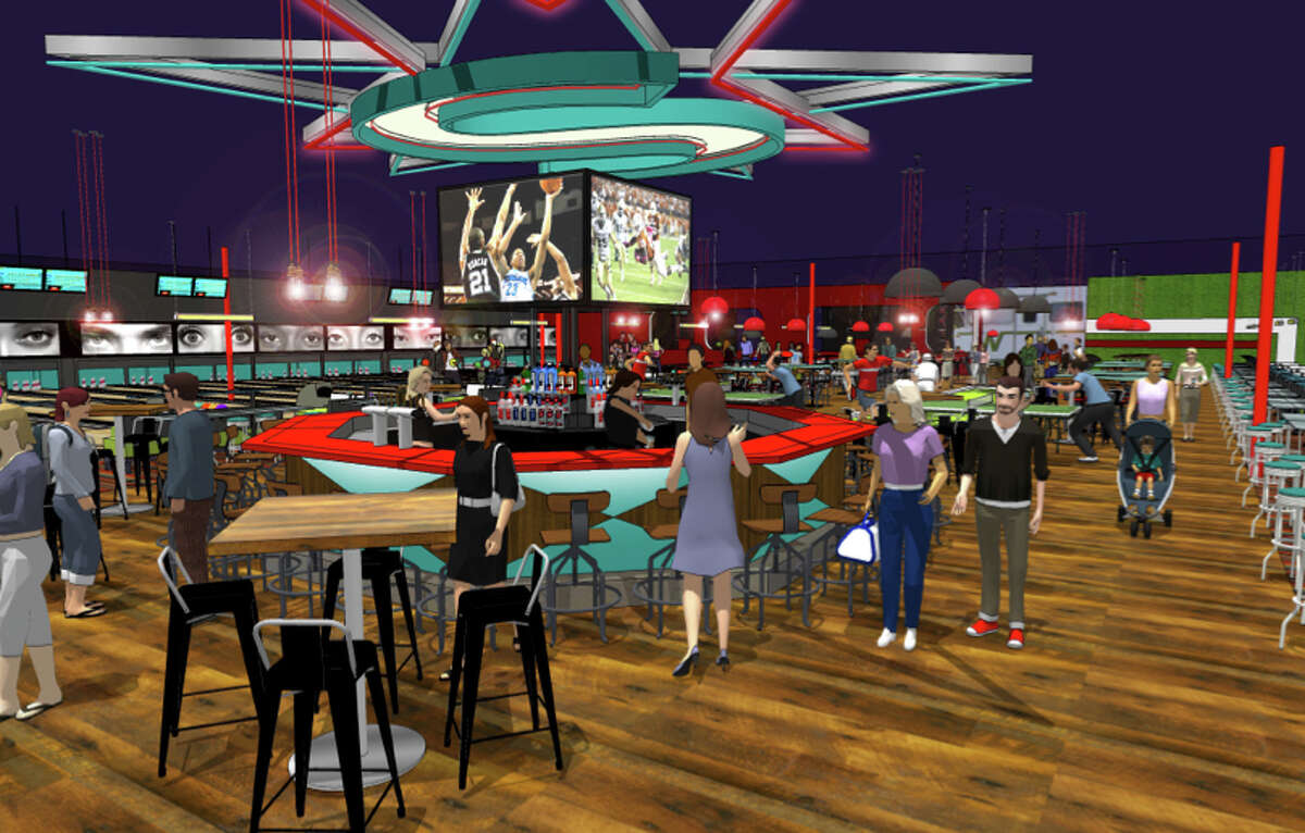 Renderings show the new San Antonio location of Bowlero, which will feature 48 lanes of blacklight bowling, a gravity ropes course, games and