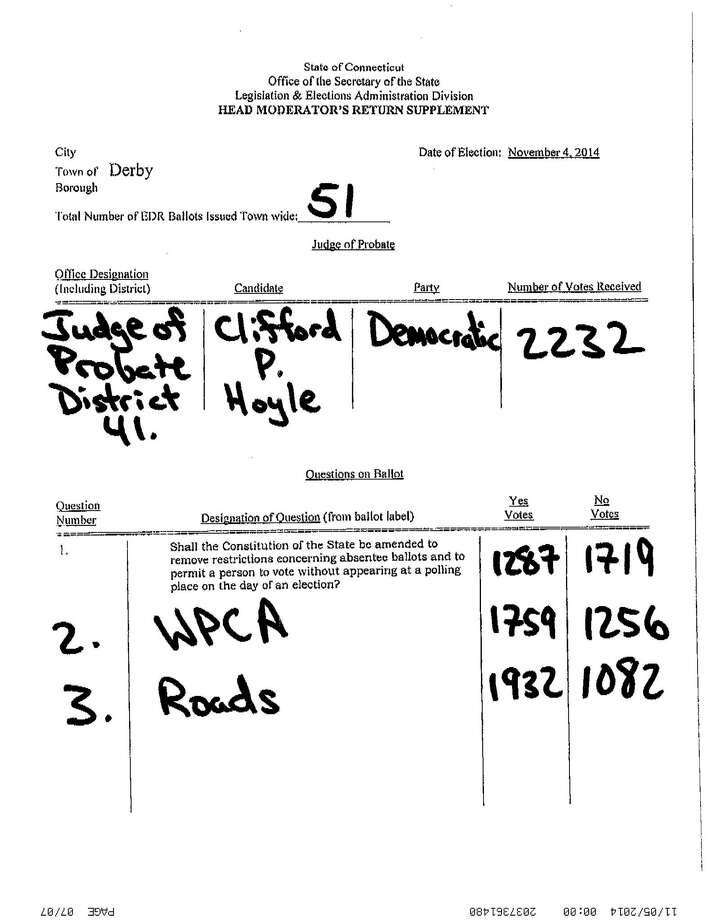 The Secretary of The State's office gets handwritten vote tallies faxed in from towns across the state. This is Derby's faxed in vote results from Tuesday, Nov. 4, 2014. Photo: Contributed Photo / Connecticut Post Contributed