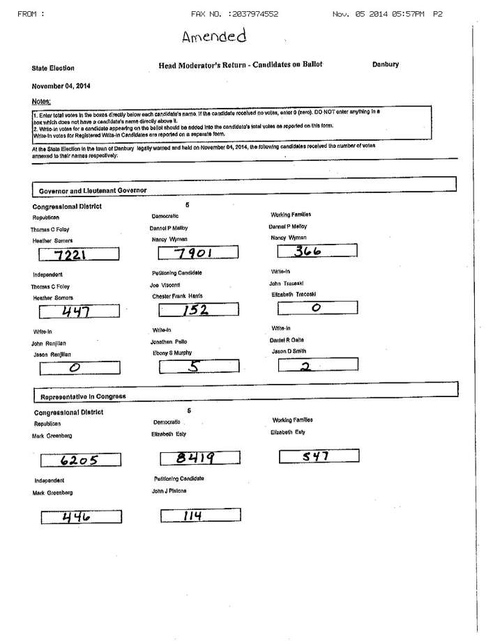 The Secretary of The State's office gets handwritten vote tallies faxed in from towns across the state. This is Danbury's faxed in vote results from Tuesday, Nov. 4, 2014. Photo: Contributed Photo / Connecticut Post Contributed