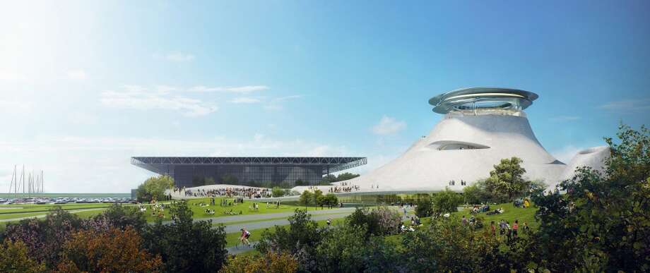 A rendering of the proposed George Lucas museum in Chicago.