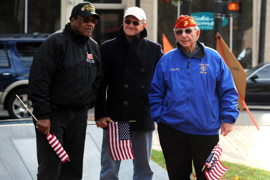 Veterans Day ceremony held at the Col. Mucci Memorial Green, in Bridgeport, Conn. Nov. 11, 2013. Photo: Ned Gerard