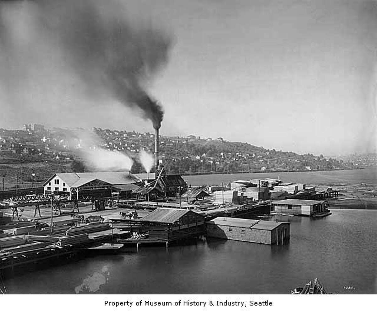 The Brace and Hergert Mill on Lake Union's south shore, pictured in 1910. Museum of History & Industry Photograph Collection. SHS9881