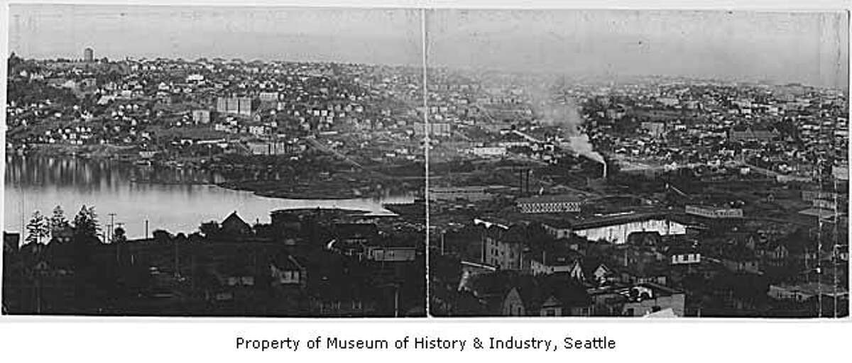 South Lake Union and Capitol Hill panorama, pictured in 1903 in a Webster & Stevens photograph. Museum of History & Industry Photograph Collection. SHS6465