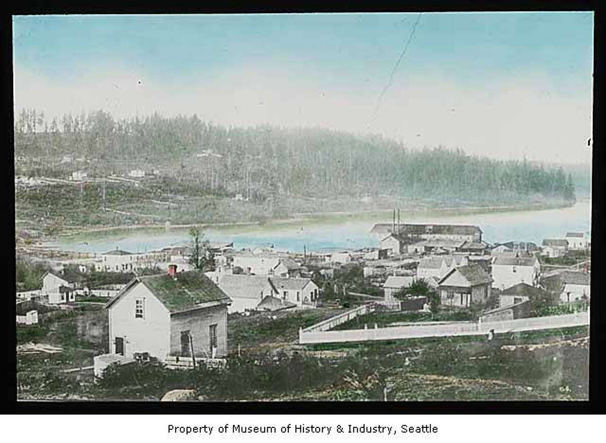 South side of Lake Union, pictured in 1885 in a Theodore E. Peiser lantern slide. Museum of History & Industry Photograph Collection. 2002.3.470