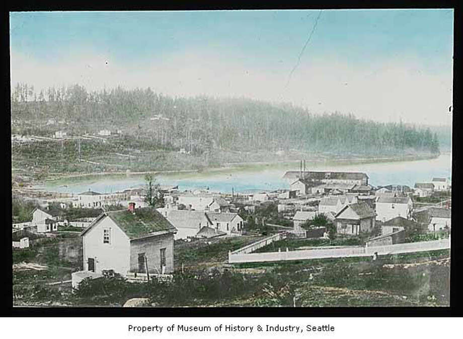 South side of Lake Union, pictured in 1885 in a Theodore E. Peiser lantern slide. Museum of History & Industry Photograph Collection. 2002.3.470 Photo: Museum Of History & Industry Collection, All Rights Reserved, Museum Of History & Industry Photograph Collection
