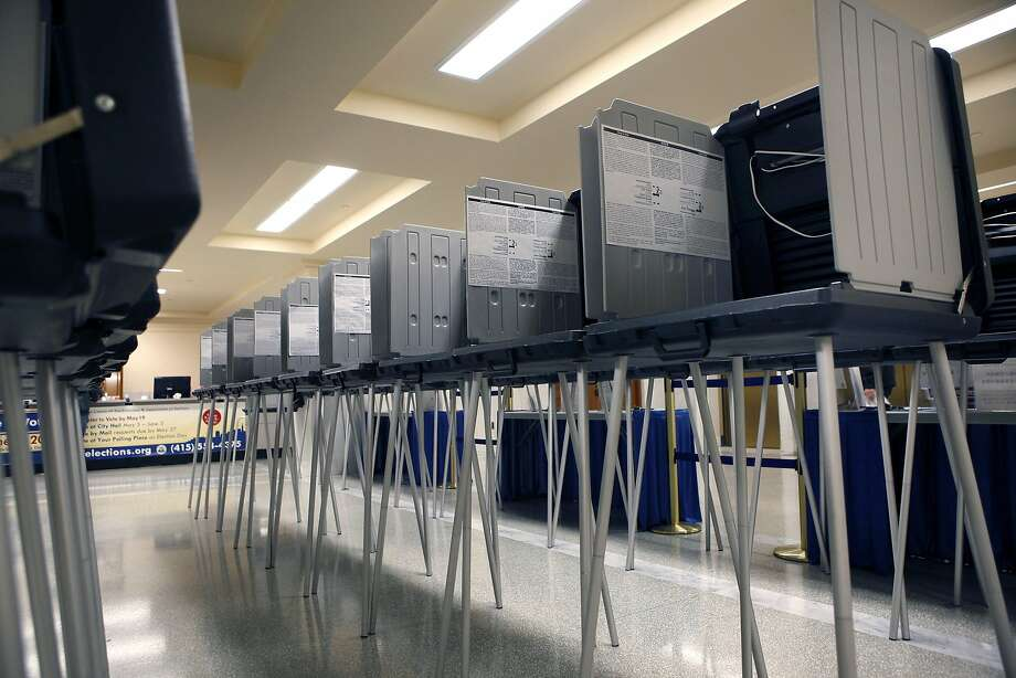 Voting booths for early voting at City Hall in San Francisco in May 2014. Photo: Michael Short, The Chronicle