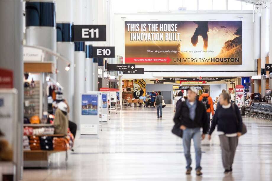 "The University of Houston's recently launched ""Welcome to the Powerhouse"" advertising campaign has landed at both Houston airports. Officials expect the campaign to receive 20 million impressions at the airports. (Photo courtesy of UH)"