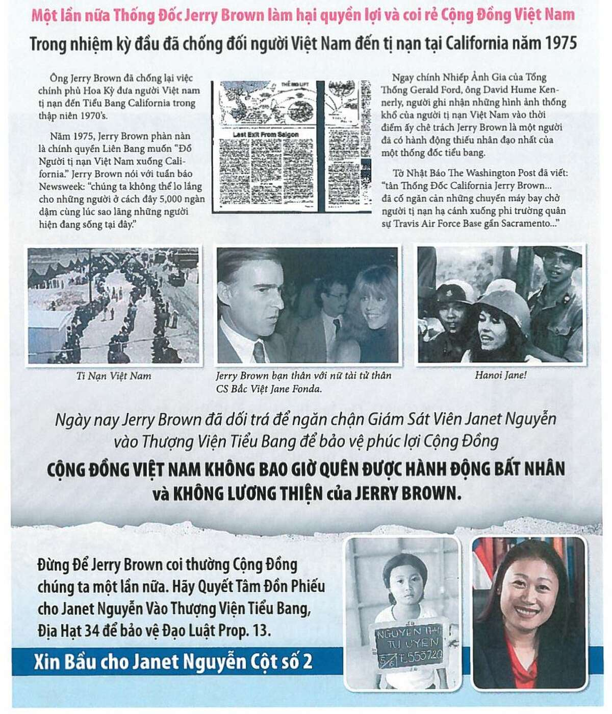 A pro-Janet Nguyen mailer aimed at Vietnamese American voters in an Orange County state Senate race.