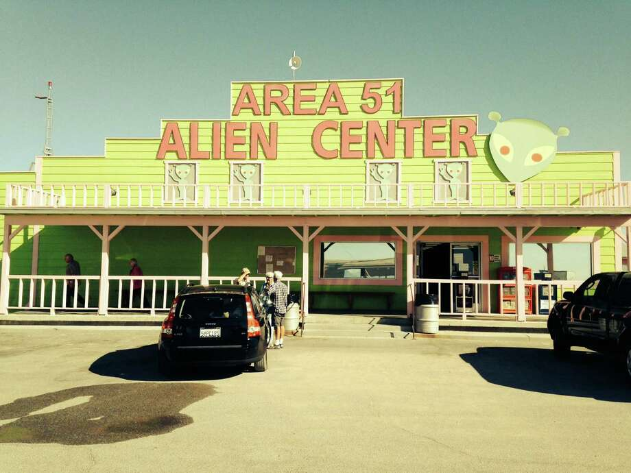 A popular rest stop, the Area 51 Alien Travel Center in Amargosa Valley off U.S. 95 in Nevada, features a restaurant, mini mart, picnic areas and a brothel - all with an alien theme. Photo: Sam McManis, MBR / Sacramento Bee