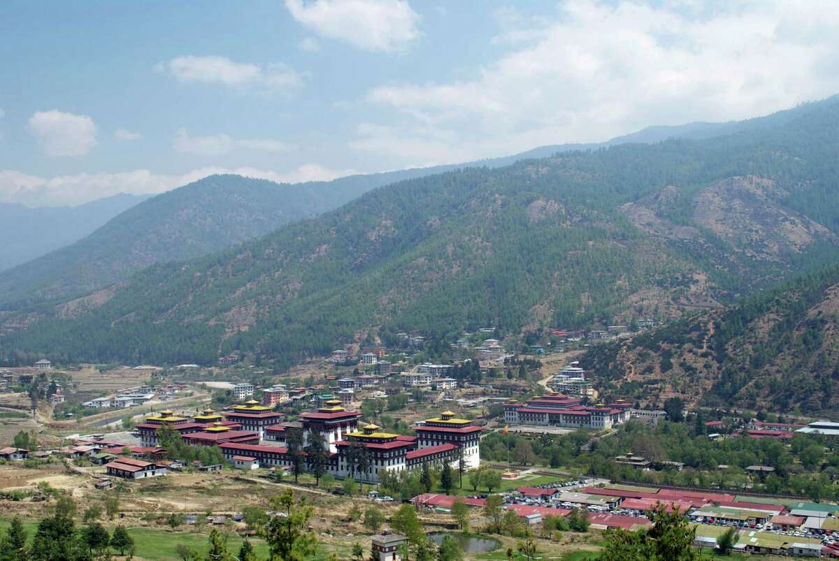 Bhutan 2014 GDP: 1.959 billion U.S. dollars Pictured: Bhutan's capital city of Thimphu, including the palace of the central government, seen from the hills surrounding the city. Source: The World Bank