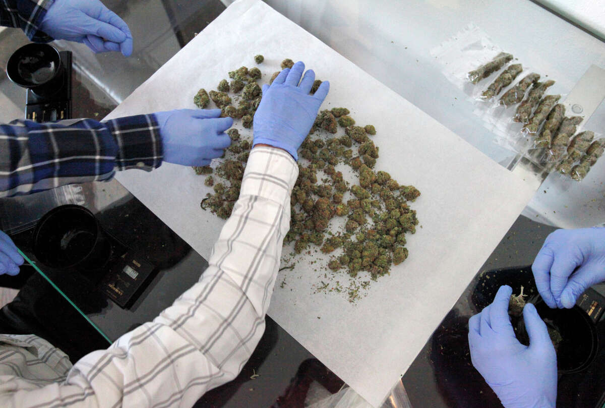 Maximo De Leon, 21 (upper left), Alex Martinez, 28 (center) and Brandon Williams, 18, weigh and package marijuana at the medical marijuana dispensary The Green Cross in S.F.'s Excelsior.
