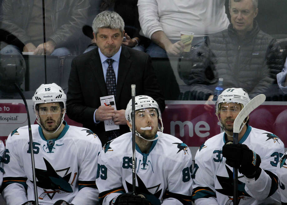 Sharks coach Todd McLellan will see his team tested by a seven-game trip that begins Saturday in Dallas. Photo: Ann Heisenfelt / Associated Press / FR13069 AP