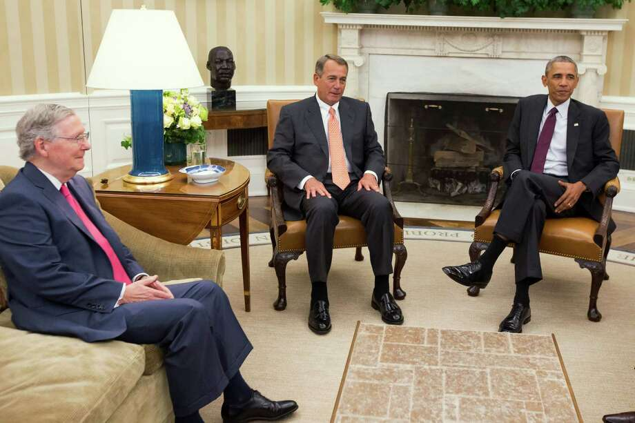 In this file photo, President Barack Obama meets with Senate Minority Leader Mitch McConnell of Ky., left, and House Speaker John Boehner of Ohio in the Oval Office. Future leaders should be chosen with their collaborative skills in mind. Photo: Evan Vucci / Evan Vucci / Associated Press / AP