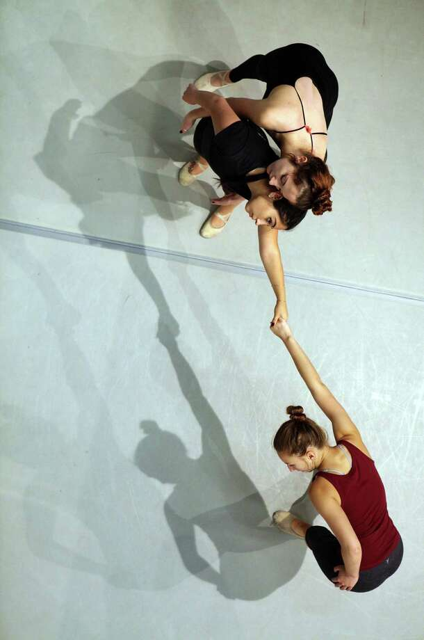 Kassidy Friend (top) with Sarah Escobedo and Madelin Braun (below) practice at the S.F. State dance studio. Photo: Liz Hafalia / The Chronicle / ONLINE_YES