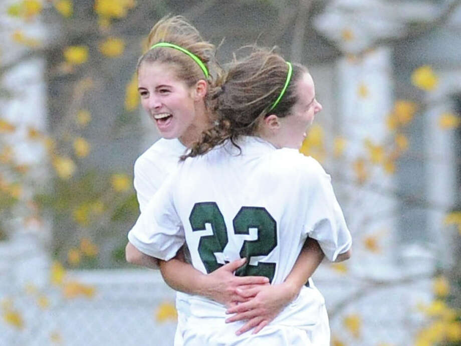 FAA girls soccer championship match between Greenwich Academy and Convent of the Sacred Heart at Greenwich Academy, Conn., Friday, Nov. 7, 2014. Convent won the championship by a score of 3-2 with Tracey Hagan of Convent getting the deciding goal with 2:13 left in overtime. Photo: Bob Luckey / Greenwich Time