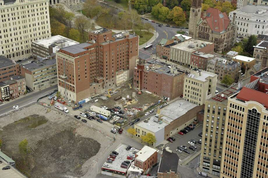 Aerial showing the new Albany Convention Center site and Dewitt Clinton Hotel, Oct. 28, 2014, in Albany, N.Y. (Gary Gold Photography) / Use with credit