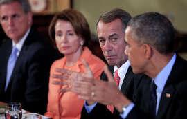 A cold wind? House Republican Whip Kevin McCarthy (left), Nancy Pelosi, John Boehner, President Obama.