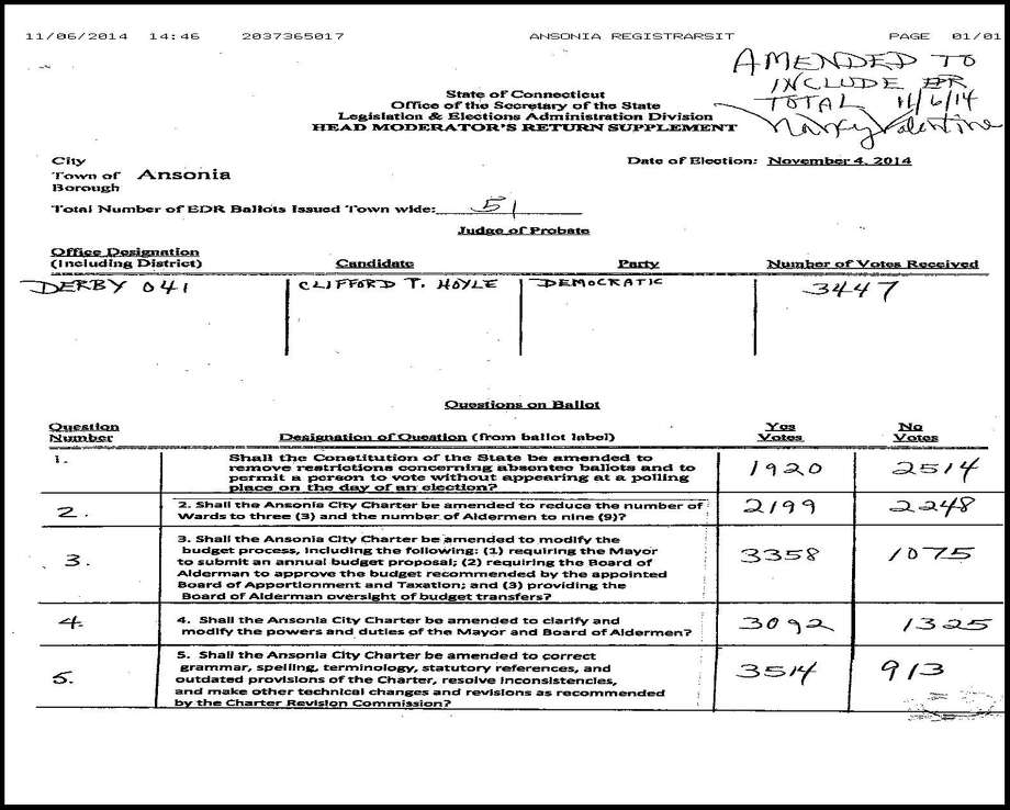 The Secretary of The State's office gets handwritten vote tallies faxed in from towns across the state. This is Ansonia's faxed in vote results from Tuesday, Nov. 4, 2014. Photo: Contributed Photo / Connecticut Post Contributed
