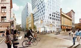 """The largest proposed Mid-Market project, nearly a full block at 950 Market, would in clude a hotel, more than 300 residen tial units and a center """"arts bar"""" for cultural organ izations."""