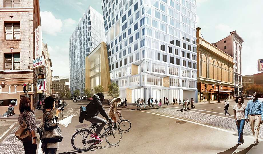 "The largest proposed Mid-Market project, nearly a full block at 950 Market, would include a hotel, more than 300 residential units and a center ""arts bar"" for cultural organizations. Photo: Big, BIG"