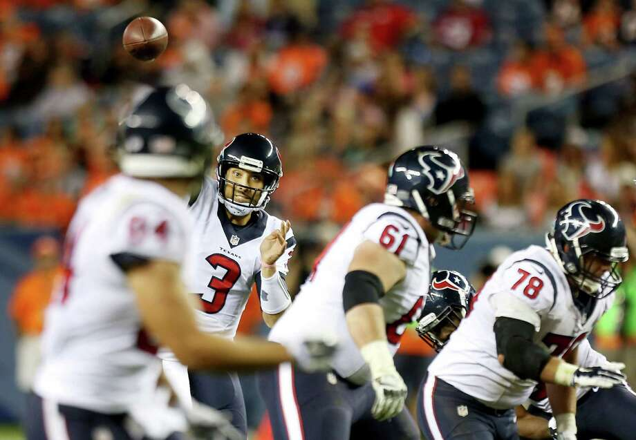 Third-string quarterback Tom Savage (3) saw his last action on an NFL field during a come-from-behind win he directed at Denver in the third preseason game on Aug. 23. Photo: Brett Coomer, Staff / © 2014  Houston Chronicle