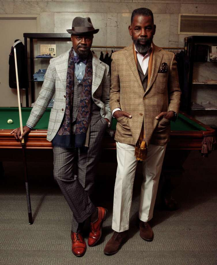 Members of the Neo Dandy Arts Collective meet regularly to share their appreciation of fine menswear. Pictured are members Alvin Lampkins (left) and Kaya Fortune. Photo: Gregory Manalo / Manalo Pictures / ONLINE_CHECK
