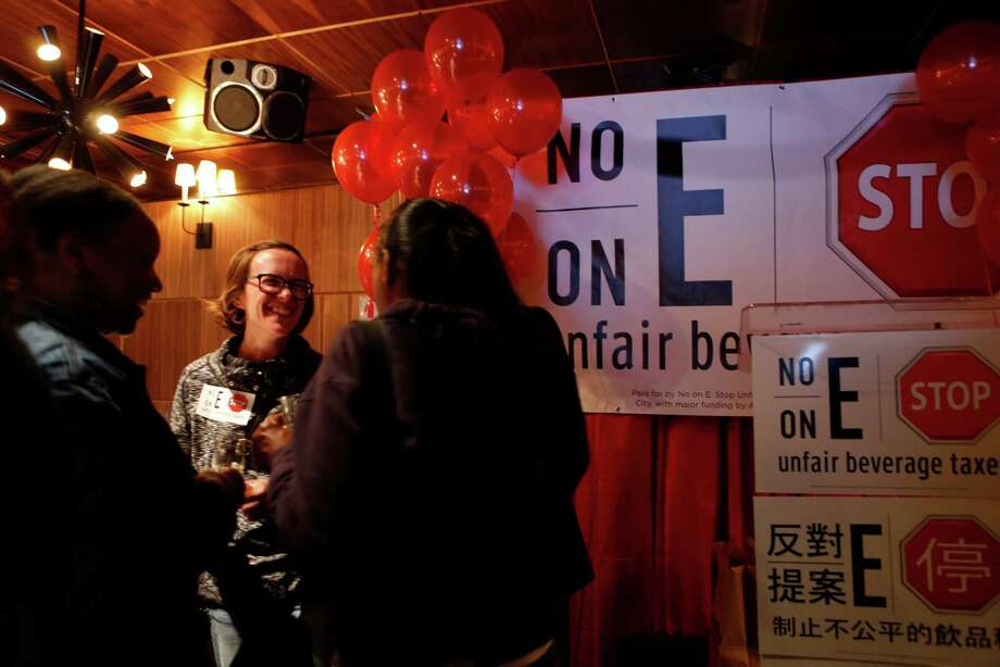 Hannah Doherty joins fellow opponents to Proposition E at a victory party at Chambers in the Phoenix Hotel in S.F. They got $9.1 million for their campaign. Photo: Scott Strazzante / The Chronicle / ONLINE_YES
