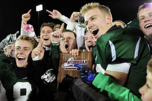 Shenendehowa's football team celebrates their 25-20 win over CBA in their Class AA Super Bowl on Friday, Nov. 7, 2014, at Bob Ford Field in Albany, N.Y. (Cindy Schultz / Times Union) Photo: Cindy Schultz / 00029384A