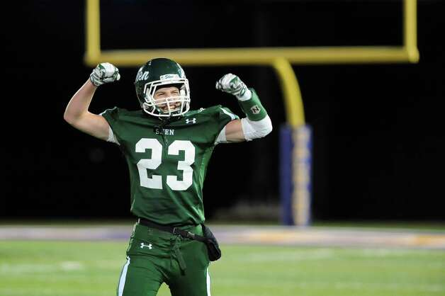 Shen's Jordan Zlogar celebrates their 25-20 win over CBA in their Class AA Super Bowl on Friday, Nov. 7, 2014, at Bob Ford Field in Albany, N.Y. (Cindy Schultz / Times Union) Photo: Cindy Schultz / 00029384A