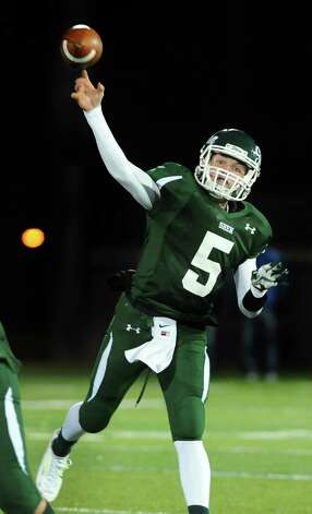 Shen's quarterback Ryan Van Galen throws a pass during their Class AA Super Bowl against CBA on Friday, Nov. 7, 2014, at Bob Ford Field in Albany, N.Y. (Cindy Schultz / Times Union) Photo: Cindy Schultz / 00029384A