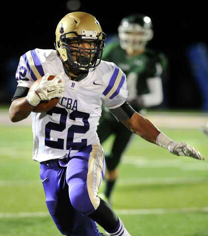 CBA's Jaylen McIntryre carries the ball during their Class AA Super Bowl against Shen on Friday, Nov. 7, 2014, at Bob Ford Field in Albany, N.Y. (Cindy Schultz / Times Union) Photo: Cindy Schultz / 00029384A
