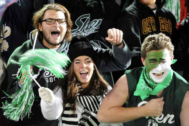 Shen's student section cheers for their team during their Class AA Super Bowl against CBA on Friday, Nov. 7, 2014, at Bob Ford Field in Albany, N.Y. (Cindy Schultz / Times Union) Photo: Cindy Schultz / 00029384A
