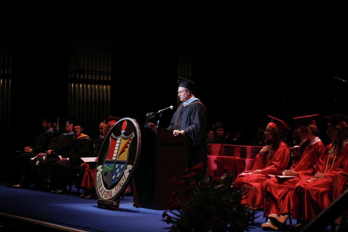 Niskayuna High School Principal John Rickert speaks during commencement exercises for the class of 2014 at Proctors Theater in Schenectady. (Tom Brenner/ Special to the Times Union) ORG XMIT: MER2014062622343226