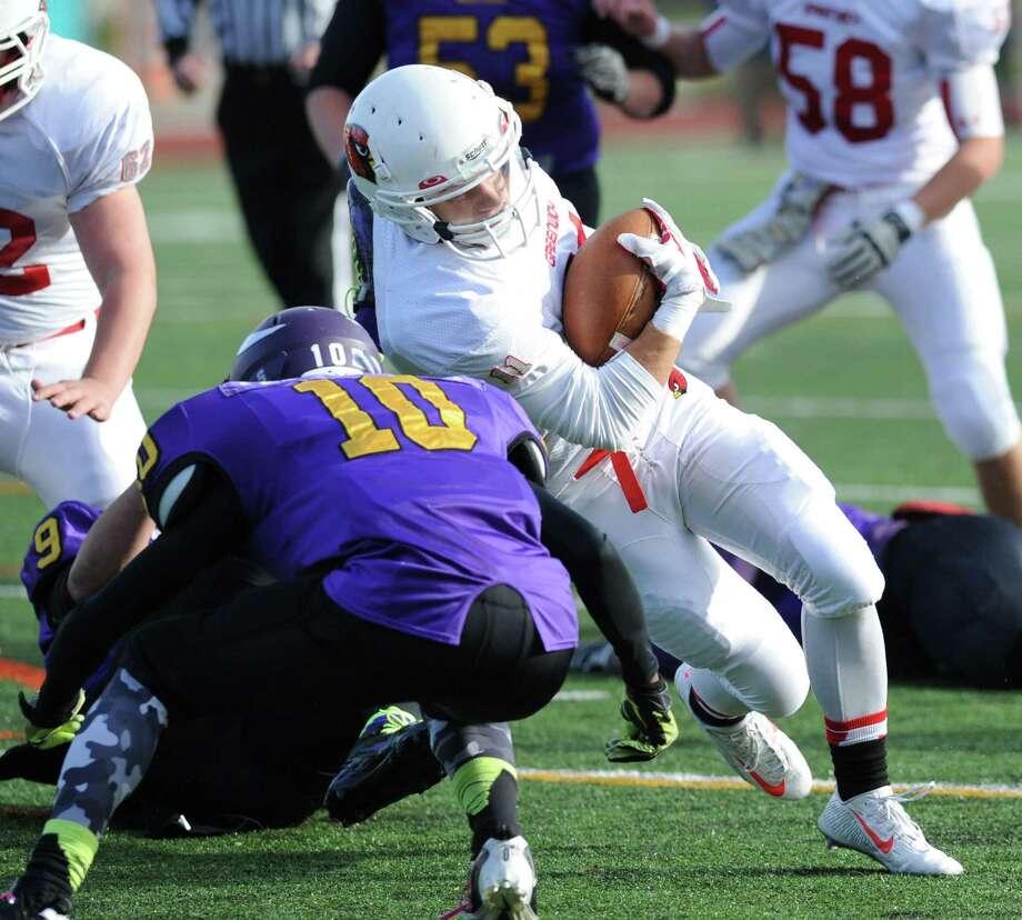 High school football game between Westhill High School and Greenwich High School at Westhill in Stamford, Conn., Saturday, Nov. 8, 2014. Photo: Bob Luckey / Greenwich Time