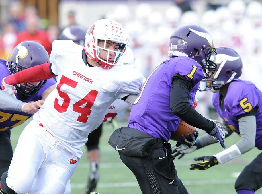 High school football game between Westhill High School and Greenwich High School at Westhill in Stamford, Conn., Saturday, Nov. 8, 2014. Photo: Bob Luckey / Greenwich Time