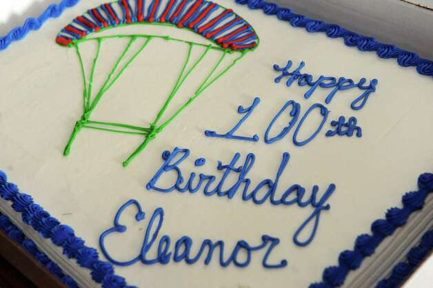 """One-hundred-years-young Eleanor """"Nanny"""" Cunningham's cake on Saturday Nov. 8, 2014 in Gansevoort, N.Y. (Michael P. Farrell/Times Union) Photo: Michael P. Farrell / 00029372A"""