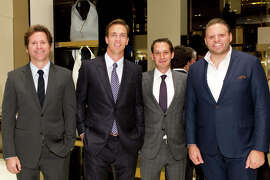 Trevor Traina (left) with Tipping Point CEO Daniel Lurie, Tipping Point trustee Alec Perkins and GQ publisher Howard Mittman at the IfOnly auction hosted by Gucci and GQ.