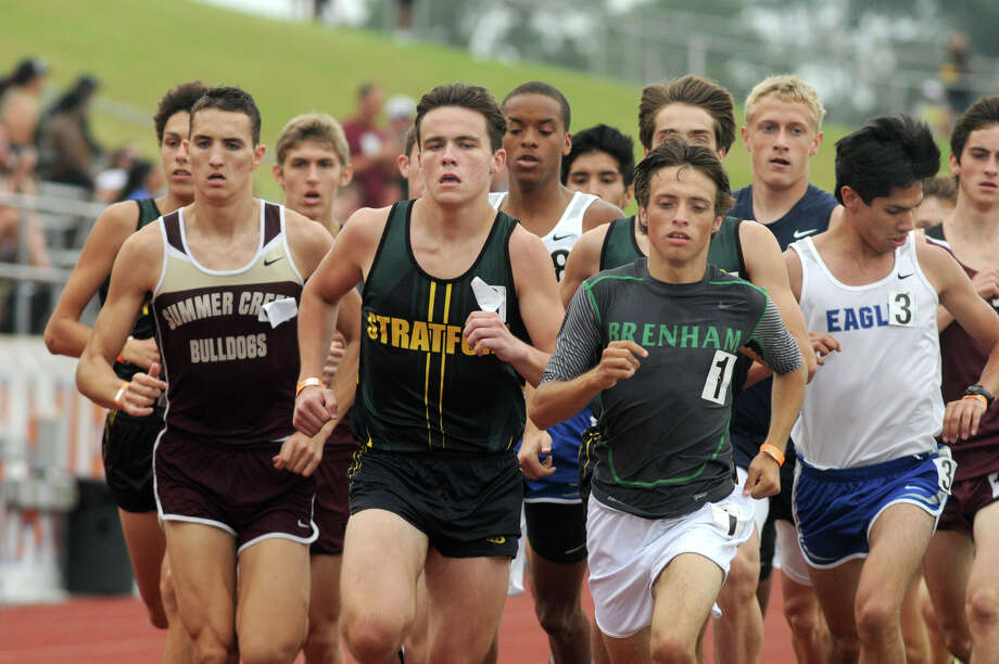 Stratford junior Austin Richard, center, runs at the head of the pack in the Boys 1600 Meter Run at the 2014 Region III-4A Track & Field Championship at Bowers Stadium on the campus of Sam Houston State University in Huntsville on Saturday. Photo: Jerry Baker, Freelance