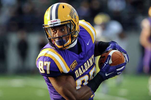 UAlbany's Cole King carries the ball during their football game against Delaware on Saturday, Nov. 8, 2014, at Bob Ford Field in Albany, N.Y. (Cindy Schultz / Times Union) Photo: Cindy Schultz / 00029366A