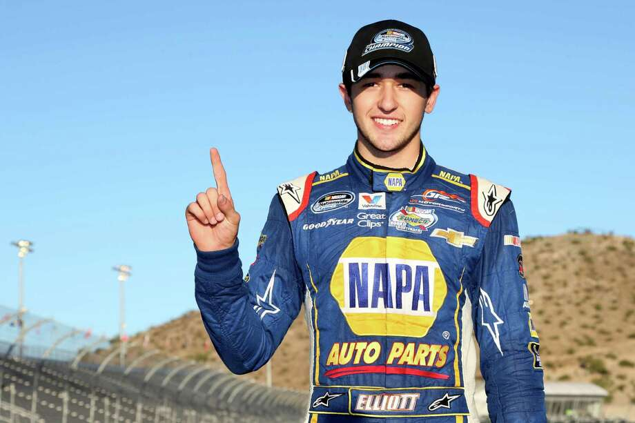 AVONDALE, AZ - NOVEMBER 08:  Chase Elliott, driver of the #9 NAPA Auto Parts Chevrolet, celebrates after winning the NASCAR Nationwide Series Championship following his fifth place finish in the DAV 200 at Phoenix International Raceway on November 8, 2014 in Avondale, Arizona.  (Photo by Todd Warshaw/Getty Images) Photo: Todd Warshaw, Stringer / 2014 Getty Images