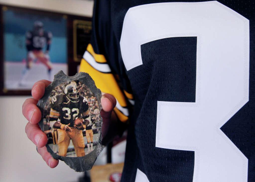 Dawn Ackerman Holds A Childhood Memento Of Pittsburgh Steelers Legend  Franco Harrris In San Francisco.